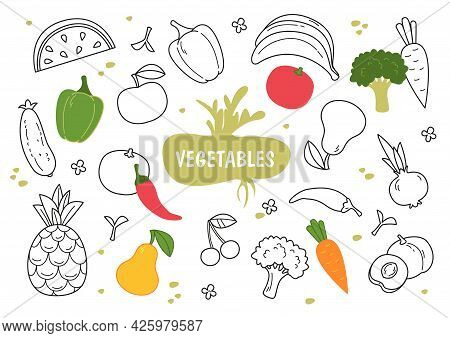 Set Of Various Hand Drawn Vegetables And Fruits Evenly Spaced On A Banner. The Inscription Is Vegeta