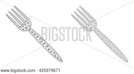 Mesh Vector Fork Icons. Mesh Wireframe Fork Images In Lowpoly Style With Structured Triangles, Point