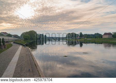 Gorzow Wielkopolski, Poland - June 1, 2021: Warta River At Sunrise Time In Poland.