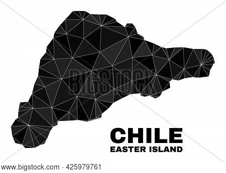Low-poly Easter Island Map. Polygonal Easter Island Map Vector Filled Of Random Triangles. Triangula