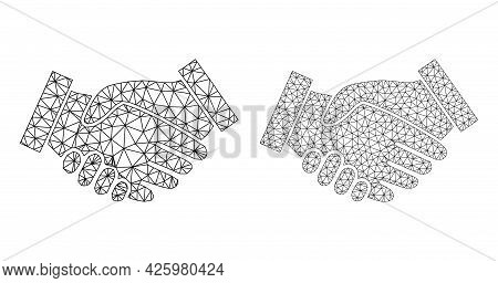 Mesh Vector Handshake Icons. Mesh Wireframe Handshake Images In Lowpoly Style With Combined Triangle