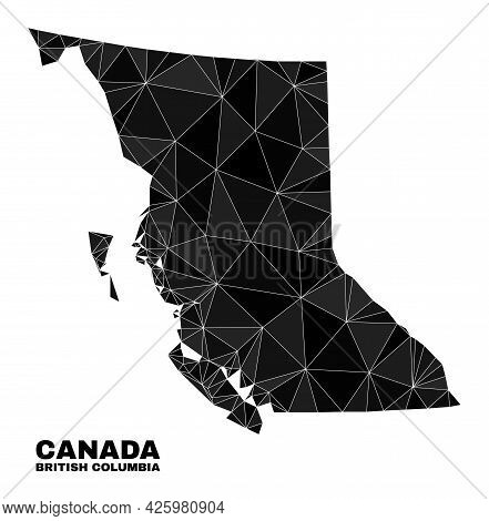 Low-poly British Columbia Map. Polygonal British Columbia Map Vector Combined With Scattered Triangl