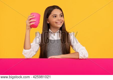 Thirst Quenching Drink Made Just For You. Happy Child Hold Plastic Cup And Placard. Drink Consumptio