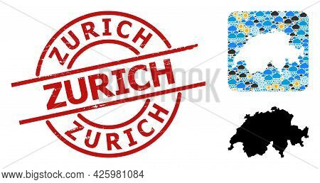 Weather Mosaic Map Of Switzerland, And Scratched Red Round Zurich Stamp Seal. Geographic Vector Comp