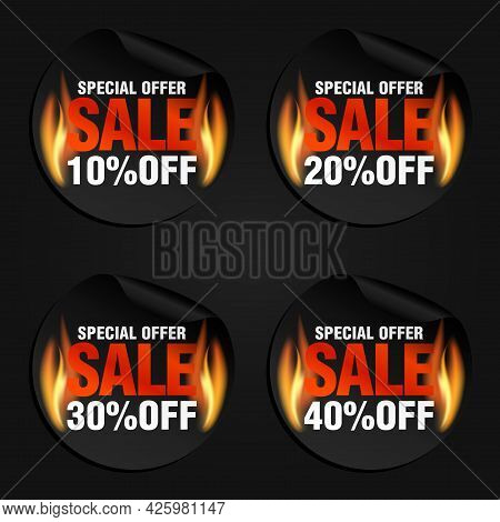 Special Offer, Sale Black Stickers Set With Flame Fire 10%, 20%, 30%, 40% Off. Vector Illustration