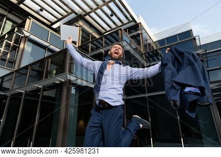 Business Success. Successful Boss Jump. Excited Entrepreneur Jumping. Business Excitement.