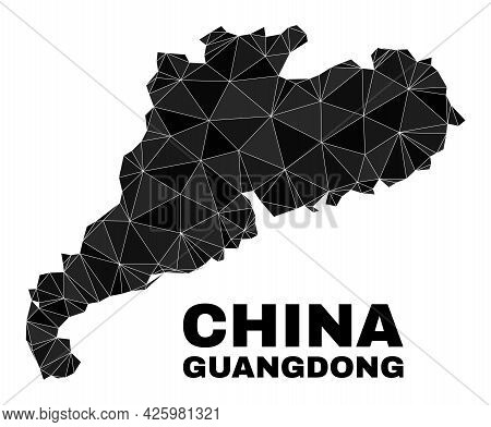 Lowpoly Guangdong Province Map. Polygonal Guangdong Province Map Vector Is Combined From Chaotic Tri