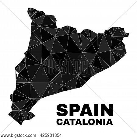 Low-poly Catalonia Map. Polygonal Catalonia Map Vector Designed With Chaotic Triangles. Triangulated