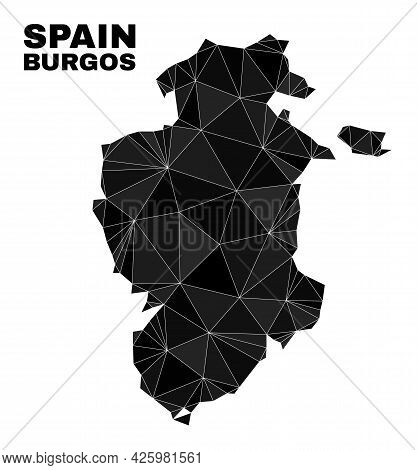 Lowpoly Burgos Province Map. Polygonal Burgos Province Map Vector Filled Of Randomized Triangles. Tr