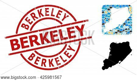 Weather Collage Map Of Staten Island, And Grunge Red Round Berkeley Stamp Seal. Geographic Vector Co