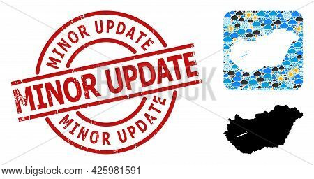 Weather Collage Map Of Hungary, And Scratched Red Round Minor Update Badge. Geographic Vector Collag