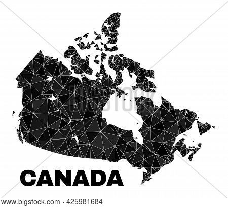 Lowpoly Canada Map. Polygonal Canada Map Vector Combined From Scattered Triangles. Triangulated Cana