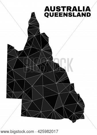 Lowpoly Australian Queensland Map. Polygonal Australian Queensland Map Vector Is Combined Of Chaotic