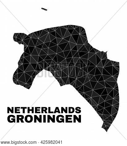 Lowpoly Groningen Province Map. Polygonal Groningen Province Map Vector Is Filled With Chaotic Trian