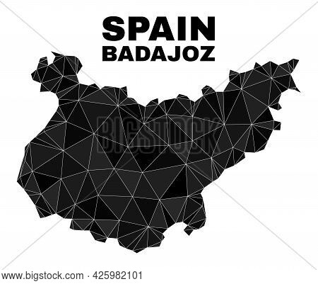 Low-poly Badajoz Province Map. Polygonal Badajoz Province Map Vector Is Combined From Random Triangl