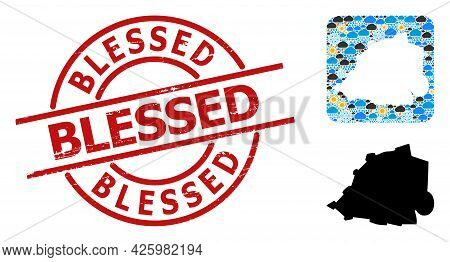 Weather Mosaic Map Of Vatican, And Rubber Red Round Blessed Badge. Geographic Vector Mosaic Map Of V