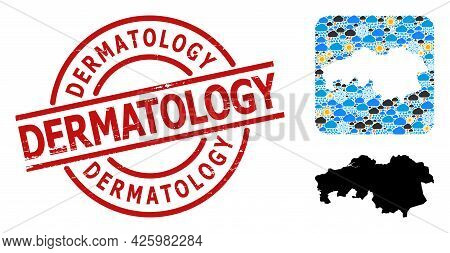 Climate Pattern Map Of North Brabant Province, And Grunge Red Round Dermatology Stamp.
