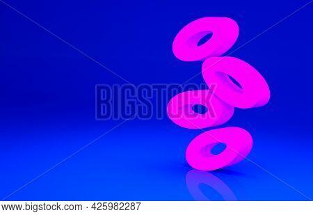 Pink Medical Hemoglobin Erythrocytes Icon Isolated On Blue Background. Minimalism Concept. 3d Illust