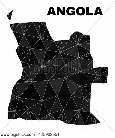 Low-poly Angola Map. Polygonal Angola Map Vector Designed From Random Triangles. Triangulated Angola