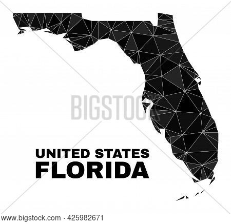 Low-poly Florida State Map. Polygonal Florida State Map Vector Combined Of Random Triangles. Triangu