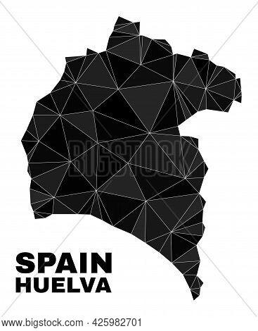 Lowpoly Huelva Province Map. Polygonal Huelva Province Map Vector Designed With Randomized Triangles