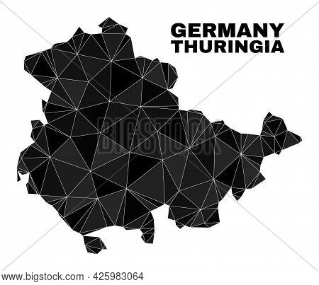 Lowpoly Thuringia Land Map. Polygonal Thuringia Land Map Vector Designed From Chaotic Triangles. Tri