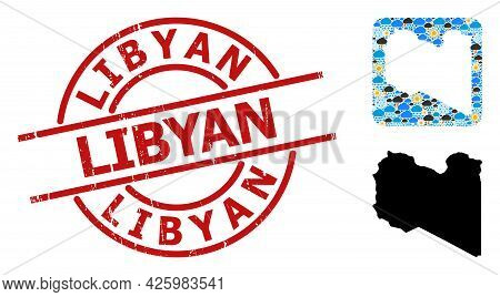 Weather Collage Map Of Libya, And Grunge Red Round Libyan Badge. Geographic Vector Collage Map Of Li