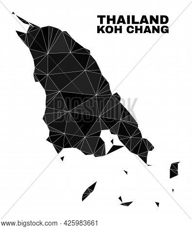 Lowpoly Koh Chang Map. Polygonal Koh Chang Map Vector Is Constructed With Scattered Triangles. Trian