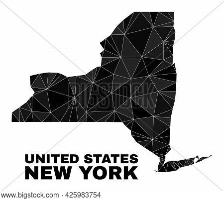 Lowpoly New York State Map. Polygonal New York State Map Vector Filled With Scattered Triangles. Tri