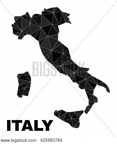 Lowpoly Italy Map. Polygonal Italy Map Vector Designed From Randomized Triangles. Triangulated Italy