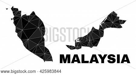 Lowpoly Malaysia Map. Polygonal Malaysia Map Vector Is Combined With Randomized Triangles. Triangula