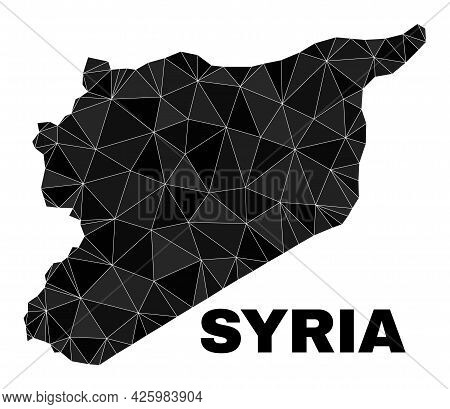 Low-poly Syria Map. Polygonal Syria Map Vector Is Filled Of Randomized Triangles. Triangulated Syria
