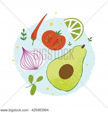 Guacamole Ingredients Set. Flat Hand Drawn Poster With Mexican Dip Sauce Recipe.