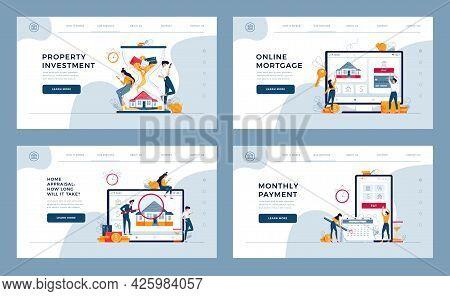 Mortgage Concept Templates Set For Website And Mobile Website Design, Development. Property Investme
