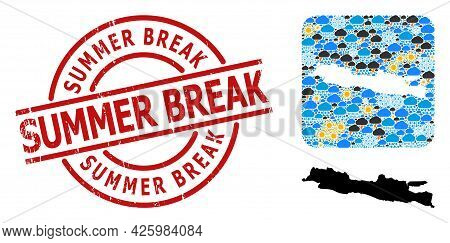 Weather Collage Map Of Java Island, And Grunge Red Round Summer Break Stamp Seal. Geographic Vector