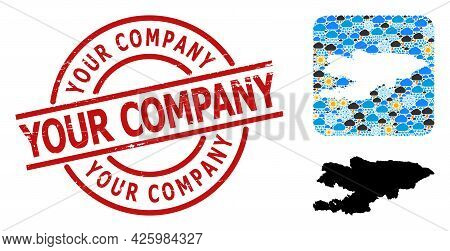 Weather Mosaic Map Of Kyrgyzstan, And Distress Red Round Your Company Badge. Geographic Vector Colla