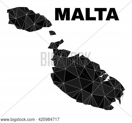 Low-poly Malta Map. Polygonal Malta Map Vector Combined With Scattered Triangles. Triangulated Malta