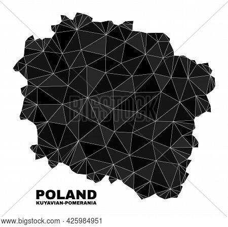 Low-poly Kuyavian-pomeranian Voivodeship Map. Polygonal Kuyavian-pomeranian Voivodeship Map Vector I