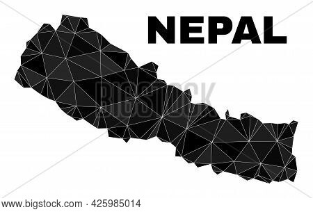 Lowpoly Nepal Map. Polygonal Nepal Map Vector Is Filled Of Random Triangles. Triangulated Nepal Map