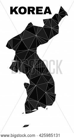 Lowpoly Korea Map. Polygonal Korea Map Vector Combined Of Scattered Triangles. Triangulated Korea Ma