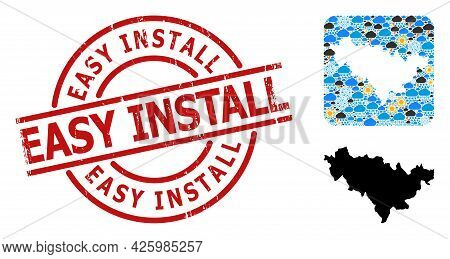 Weather Mosaic Map Of Jilin Province, And Rubber Red Round Easy Install Stamp. Geographic Vector Mos