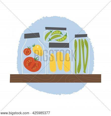 Pickles Shelf At The Storeroom. Homemade Preserved Vegetables In Glass Jars.
