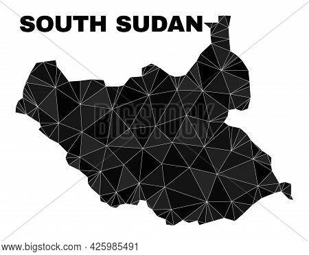 Low-poly South Sudan Map. Polygonal South Sudan Map Vector Designed Of Randomized Triangles. Triangu