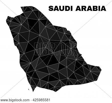 Low-poly Saudi Arabia Map. Polygonal Saudi Arabia Map Vector Combined With Random Triangles. Triangu