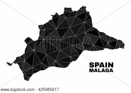 Lowpoly Malaga Province Map. Polygonal Malaga Province Map Vector Filled From Randomized Triangles.
