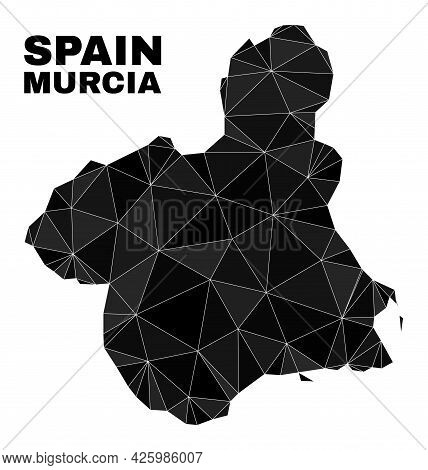 Low-poly Murcia Province Map. Polygonal Murcia Province Map Vector Is Designed From Chaotic Triangle