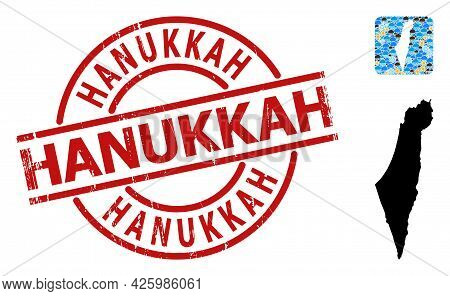 Weather Mosaic Map Of Israel, And Grunge Red Round Hanukkah Stamp. Geographic Vector Collage Map Of