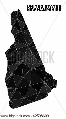 Low-poly New Hampshire State Map. Polygonal New Hampshire State Map Vector Filled From Chaotic Trian
