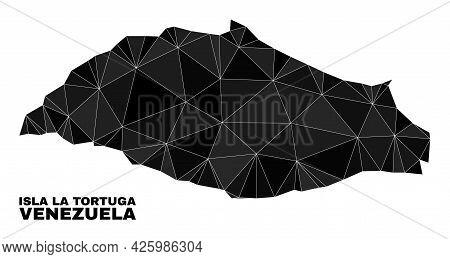 Low-poly Isla La Tortuga Map. Polygonal Isla La Tortuga Map Vector Designed Of Chaotic Triangles. Tr