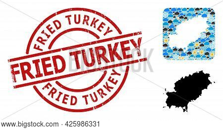 Climate Mosaic Map Of Ibiza Island, And Rubber Red Round Fried Turkey Stamp Seal. Geographic Vector